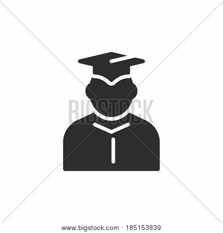 Student in mantle and graduation cap icon vector filled flat sign glyph style pictogram isolated on white. Symbol logo illustration. Pixel perfect