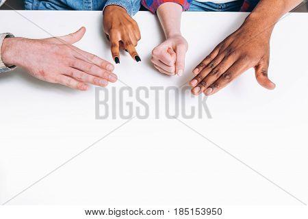 Game Fun Rock Paper Scissors Hand Play Unrecognizable Interracial Closeup Friendship Pastime Concept