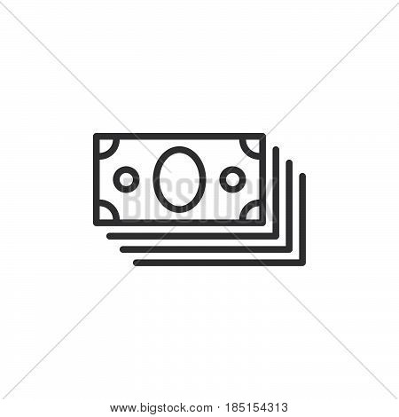 Bundle of money outline icon line vector sign linear style pictogram isolated on white. Symbol logo illustration. Editable stroke. Pixel perfect
