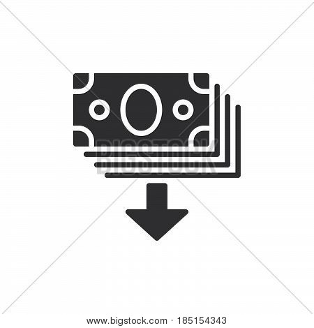 Withdraw funds request money icon vector filled flat sign glyph style pictogram isolated on white. Symbol logo illustration. Pixel perfect