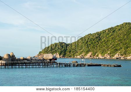 Wooden bridge in Ko Nang Yuan is a small island very close to Ko Tao. It is famous for its diving spots and its great snorkeling beach.