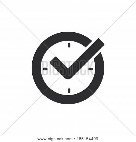 Check mark on clock real time protection icon vector filled flat sign glyph style pictogram isolated on white. Symbol logo illustration. Pixel perfect