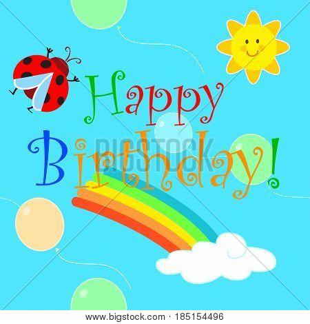 Happy birthday for baby with cute cartoon rainbow sun and ladybird. Vector seamless illustration