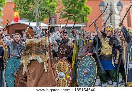 ALBA IULIA ROMANIA - APRIL 29 2017: Dacian soldiers in battle costume present at APULUM ROMAN FESTIVAL organized by the City Hall.