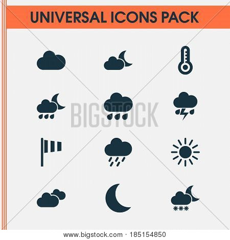 Meteorology Icons Set. Collection Of Sun, Moonlight, Flag And Other Elements. Also Includes Symbols Such As Flag, Moon, Overcast.
