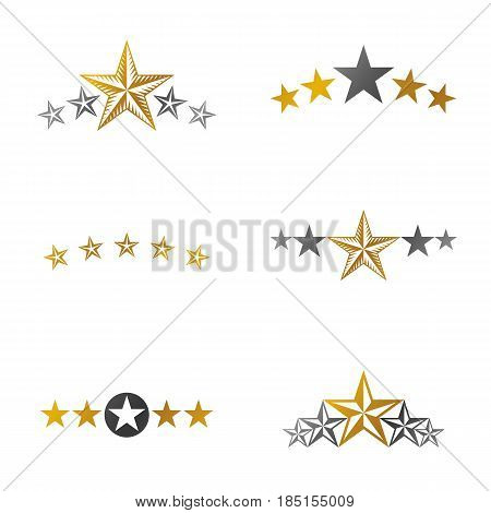 Stars ancient emblems elements set. Heraldic vector design elements collection. Retro style label heraldry logo.
