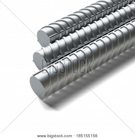 Bars of reinforcement. Isolated on white background. Close-up. 3D illustration