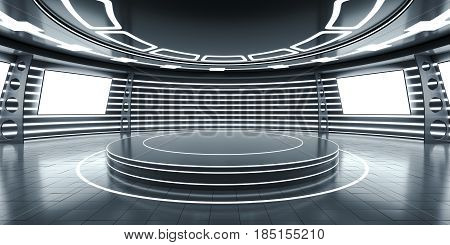 Abstract futuristic interior with a podium in the middle and glowing panels. 3D Rendering