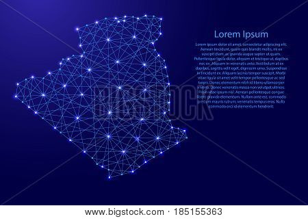 Map of Algeria from polygonal blue lines and glowing stars vector illustration