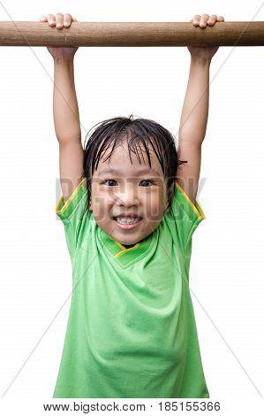 Asian Chinese Little Girl Hanging On Horizontal Bar