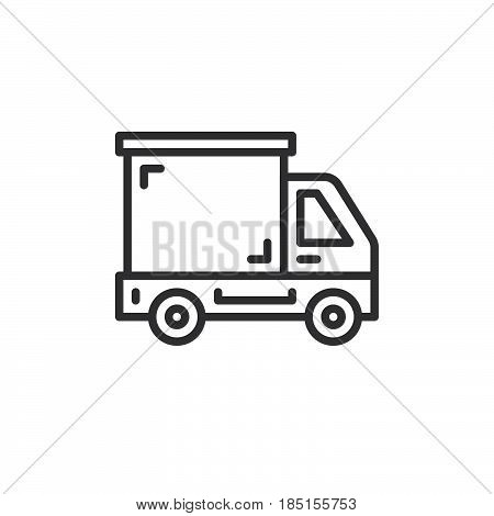 Delivery truck lorry line icon outline vector sign linear style pictogram isolated on white. Symbol logo illustration. Editable stroke. Pixel perfect