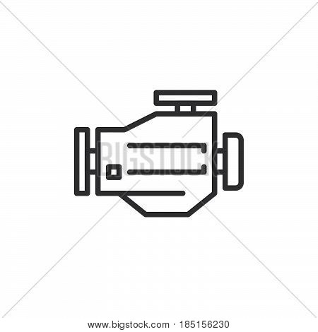 Engine line icon outline vector sign linear style pictogram isolated on white. Symbol logo illustration. Editable stroke. Pixel perfect