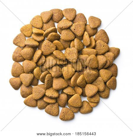 Dry kibble dog food isolated on white background. Top view.