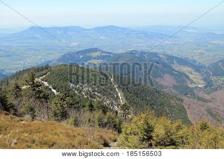 view on the hills in Beskydy mountains, Czech Republic