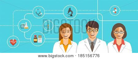 Doctors team with medical icons. Health care flat vector background. Professional hospital services concept. Medical staff smiling faces. Young man therapist with female physicians