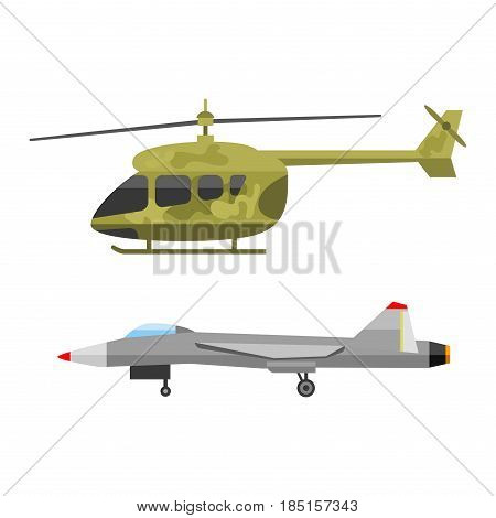 Military technic army war air helicopter and industry technic armor defense vector collection. Transportation weapon technic exhibition international fighting conflict weaponry tracks.
