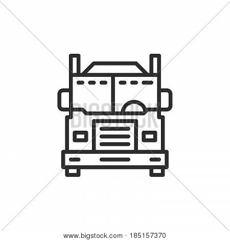 Interstate truck line icon outline vector sign linear style pictogram isolated on white. Symbol logo illustration. Editable stroke. Pixel perfect