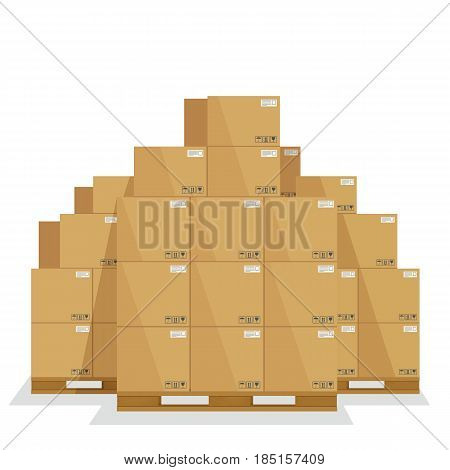 Delivery boxes on a wooden pallet. Cardboard cargo boxes with fragile signs.
