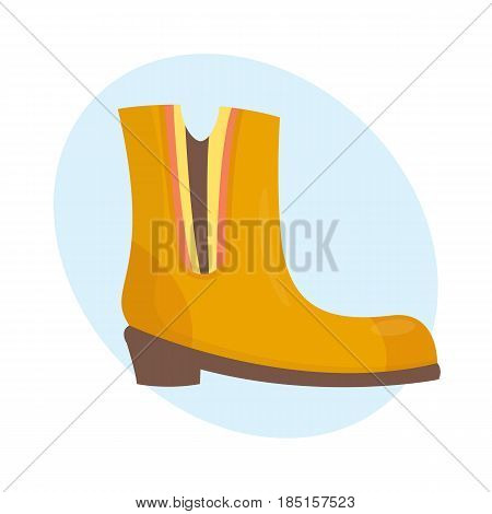 Fashion female boots orange isolated casual foot autumn clothing vector illustration. Clothes glamour legs people beauty elegant footwear fashionable people heels lady lifestyle accessory.