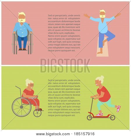 Banner of Retired elderly seniors age couple in flat character design. Grandpa and grandma on bicycles. Grandparents with walking stick and invalid chair isolated. Vector illustration eps10.