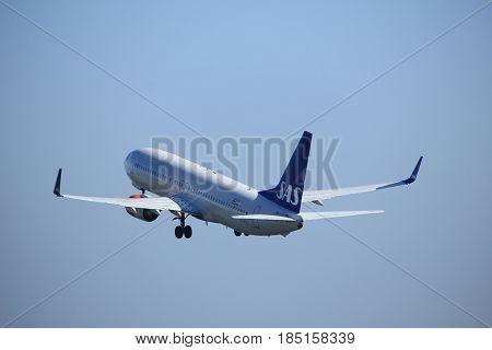 Amsterdam the Netherlands - April 2nd 2017: LN-RRJ SAS Scandinavian Airlines Boeing 737 takeoff from Polderbaan runway Amsterdam Airport Schiphol