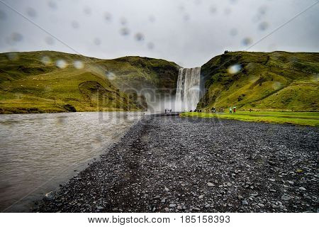 Skogafoss waterfall in a rainy day in Iceland