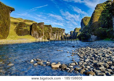 Famous and great Fjadrargljufur Canyon in Iceland