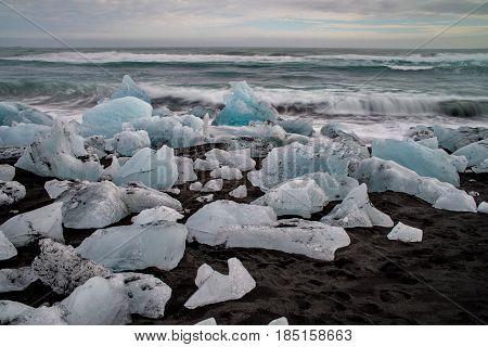Black sand Diamond beach in Iceland, Europe