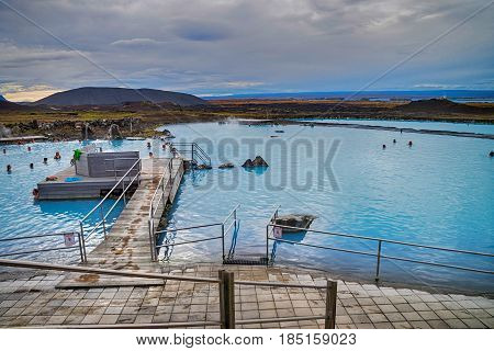 MYVATN LAKE - 20 SEPETMBER: Tourist in Myvatn geothermal lake which is a popular place in Iceland on 20 September 2016
