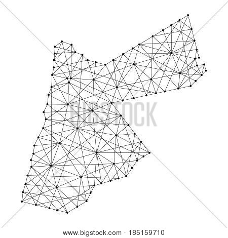 Map of Jordan from polygonal black lines and dots of vector illustration