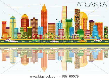 Atlanta Skyline with Color Buildings, Blue Sky and Reflections. Business Travel and Tourism Concept with Modern Architecture. Image for Presentation Banner Placard and Web Site.