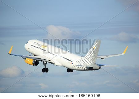 Amsterdam the Netherlands - April 7th 2017: EC-MJC Vueling Airbus A320-200 takeoff from Polderbaan runway Amsterdam Airport Schiphol