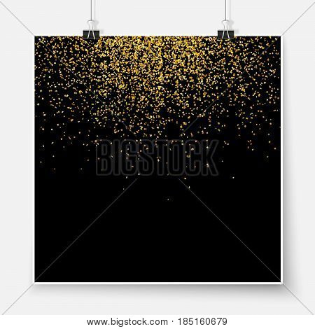Confetti Poster Binder Clip Celebration Golden Glitter Mock Up 3