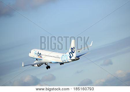 Amsterdam the Netherlands - April 7th 2017: G-FBJK Flybe Embraer ERJ-175STD takeoff from Polderbaan runway Amsterdam Airport Schiphol