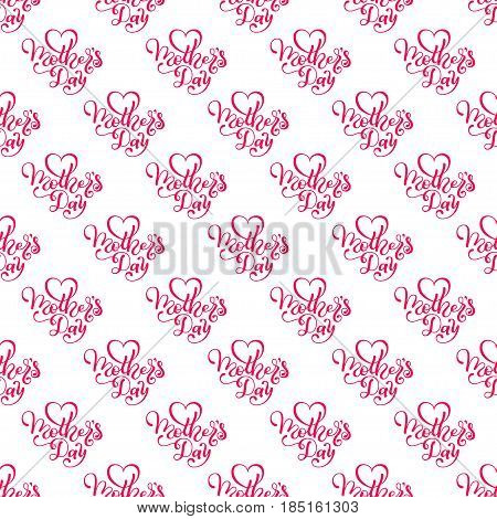 Seamless pattern with hand lettering Mother's Day on pink background. Template for a banner, poster, flyer, invitation. Vector illustration for your design