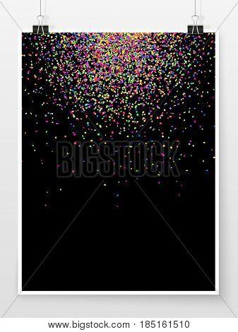 Confetti Poster Binder Clip Holiday Celebration Colorful Mock Up 1