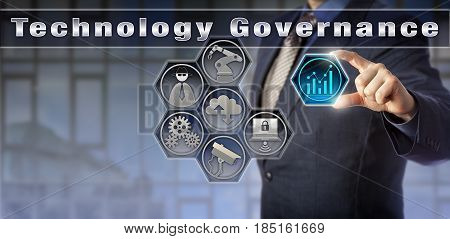 Blue chip business administrator is activating Technology Governance via a virtual control matrix. Industry and public policy concept for controlling and directing use of industrial technology.