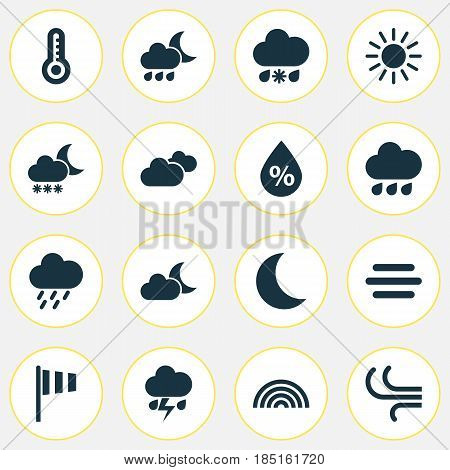 Meteorology Icons Set. Collection Of Breeze, Rainy, Douche And Other Elements. Also Includes Symbols Such As Temperature, Crescent, Vane.