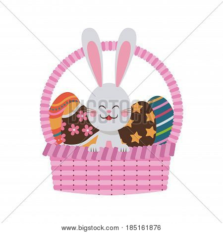 cute easter bunny basket egg celebration party vector illustration
