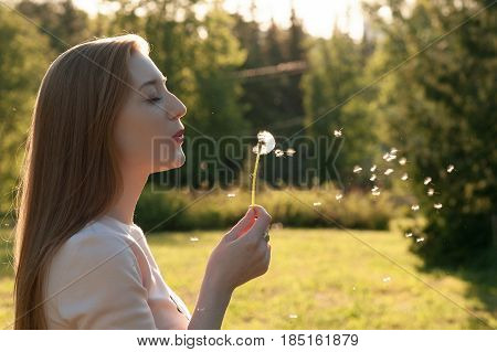 Lovely young girl blowing on a dandelion. Portrait of an outdoor lifestyle. Spring annotation