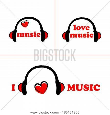 set of symbol of music with Headphones and heart . vector
