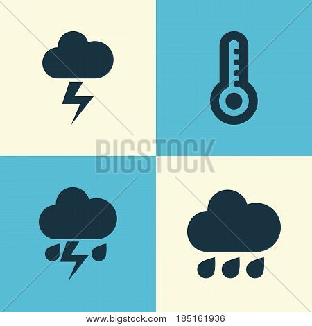 Meteorology Icons Set. Collection Of Flash, Lightning, Temperature And Other Elements. Also Includes Symbols Such As Outbreak, Hot, Cloud.