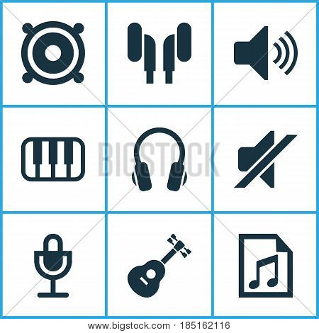 Multimedia Icons Set. Collection Of Silence, Octave, Earmuff And Other Elements. Also Includes Symbols Such As Earmuff, Earphone, Loudspeaker.