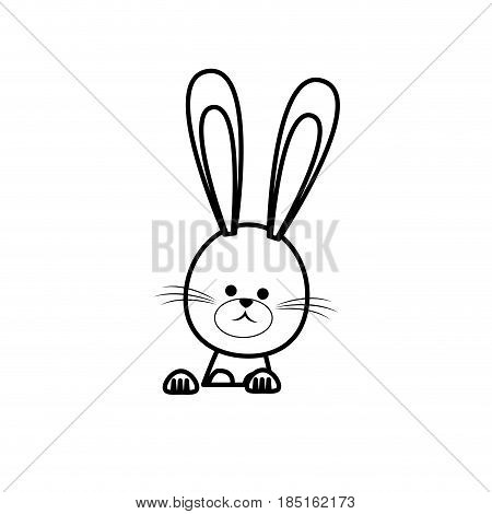 cute easter bunny funny animal line vector illustration
