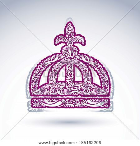 Luxury flower-patterned crown with Christianity cross emperor accessory. Royal and spiritual art graphic vector design element. Religion theme.