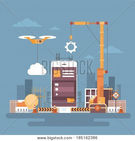 Mobile Application Web Development, Cell Smart Phone App Programming Concept Flat Vector Illustration