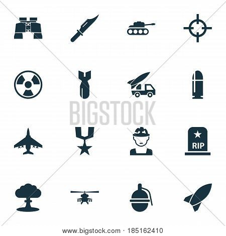 Warfare Icons Set. Collection Of Dangerous, Aircraft, Panzer And Other Elements. Also Includes Symbols Such As Panzer, Cutter, Explosion.