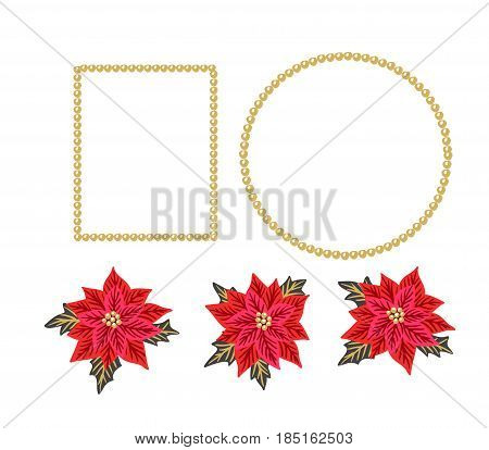 Christmas background with red poinsettias and gold beads frames. Vector illustration. Festive design elements.