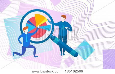 Businesspeople Banking Accountant Finance Business Data Analysis Financial Graph With Magnifier Flat Vector Illustration