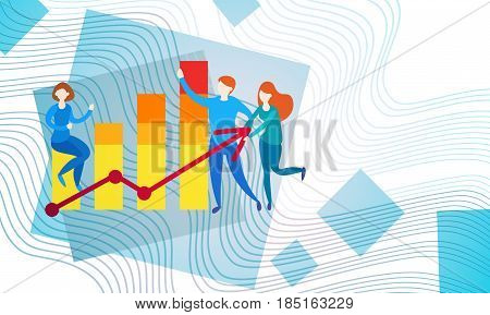 Businesspeople Banking Accountant Finance Business Data Analysis Financial Graph Flat Vector Illustration